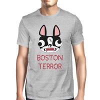 Boston Terror Terrier Halloween Shirt For Men Grey Cotton Crewneck