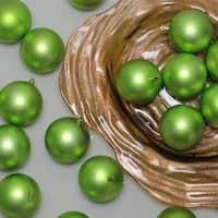 "96ct Matte Green Kiwi Shatterproof Christmas Ball Ornaments 3.25"" (80mm)"
