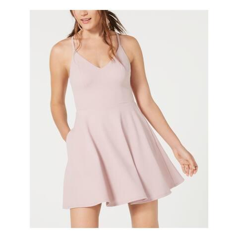 SPEECHLESS Womens Pink Spaghetti Strap Mini Fit + Flare Dress Size 1