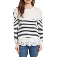 Joie White Women's Size Medium M Striped Crewneck Wool Sweater