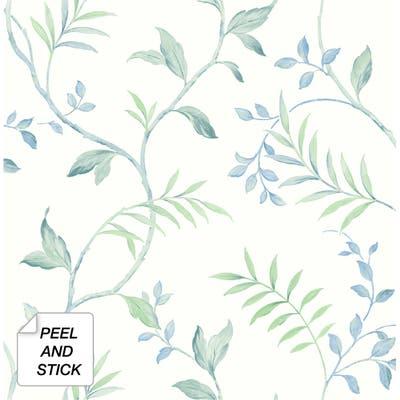 NextWall Watercolor Leaf Trail Peel and Stick Wallpaper - 20.5 in. W x 18 ft. L
