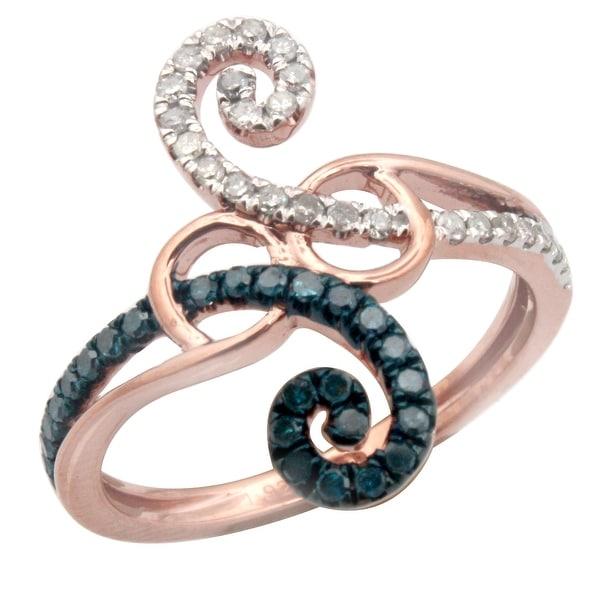 Designer 0.35Ct Round Brilliant Cut Blue Color Diamond With Real Diamond Engagement Ring