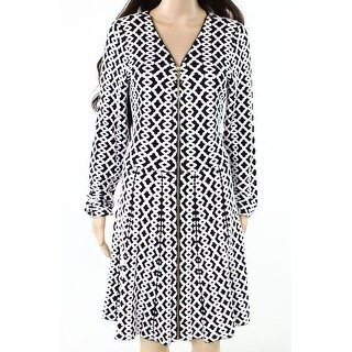 INC NEW White Womens Size XXL Jacquard Fit N Flare Sweater Dress
