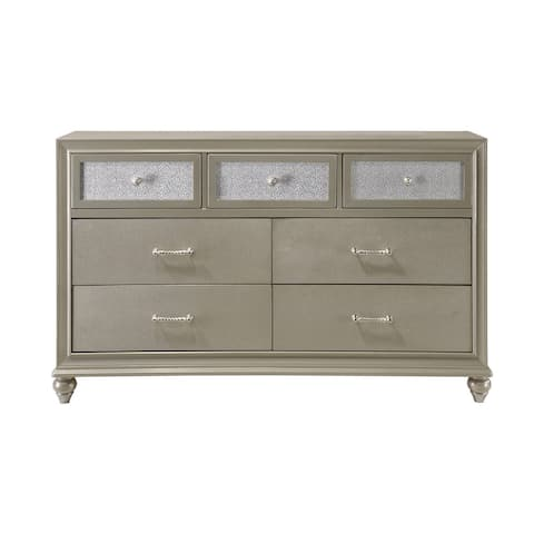 Dresser with 7 Storage Drawers and Turnip Feet, Champagne Gold