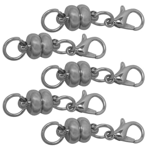 Evelots Magnetic Super Strenght Clasps-Rhodium-Stylish-Vintage-Effortless-Set/5 - 5 Pieces