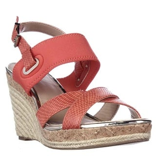 A35 Pursue Espadrille Stretch Strap Wedge Sandals - Light Persimmon