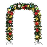 Costway 7.5'X6.7' Pre-Lit Artificial Arched Christmas Tree Archway Decoration w/ Lights - Green
