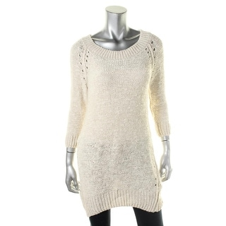 Zara Knit Womens Crochet Boatneck Tunic Sweater - S
