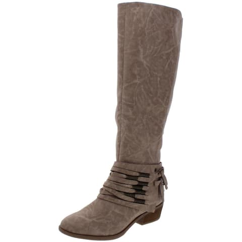 Not Rated Women's Lexi Faux Leather Strappy Stacked Heel Tall Knee-High Boots - Taupe