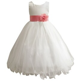 Wedding Easter Flower Girl Dress Paperio Ivory Rattail Satin Tulle (Baby - 14) Coral Guava