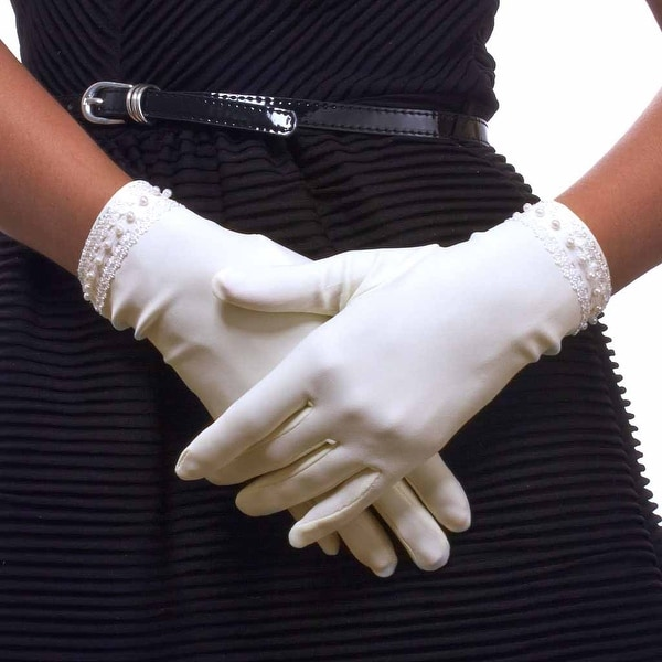 Pearls and Lace Proper Nylon Gloves For Ladies