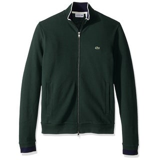 Lacoste NEW Forest Green Mens Size 2XL Full Zip Mock-Neck Sweater