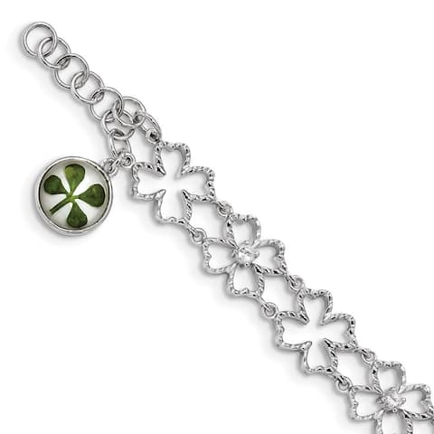 """925 Sterling Silver Plated Clover Epoxy & Shell Cubic Zirconia Bracelet, 6.5"""" w/0.5in Extender"""