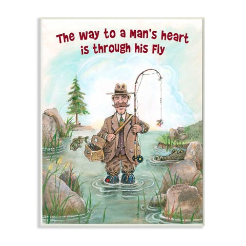 Stupell Industries His Fly Funny Sports Fishing Cartoon Design Wood Wall Art