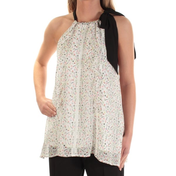 CYNTHIA ROWLEY Womens Ivory Floral Sleeveless Jewel Neck Top Size: XS