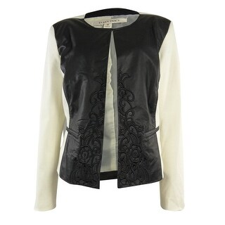 Ellen Tracy Women's Embroidered Faux Leather Ponte Jacket