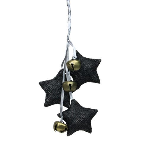 "10"" Black and White Triple Star with Jingle Bells Christmas Ornament - N/A"