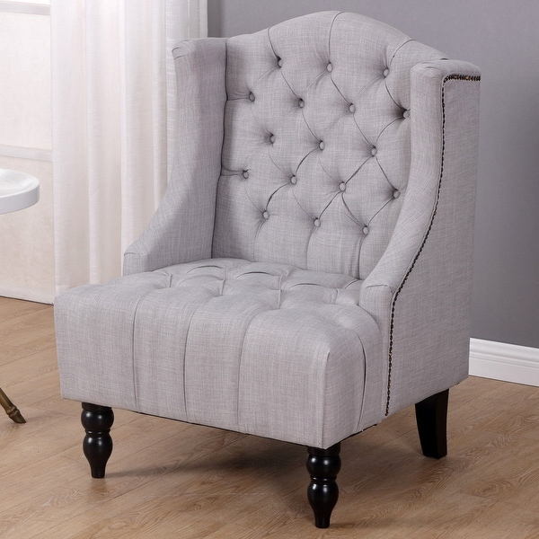 Shop Costway Modern Tall Wingback Tufted Accent Armchair ...