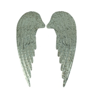 Galvanized Metal Rustic Angel Wings Wall Decor Set