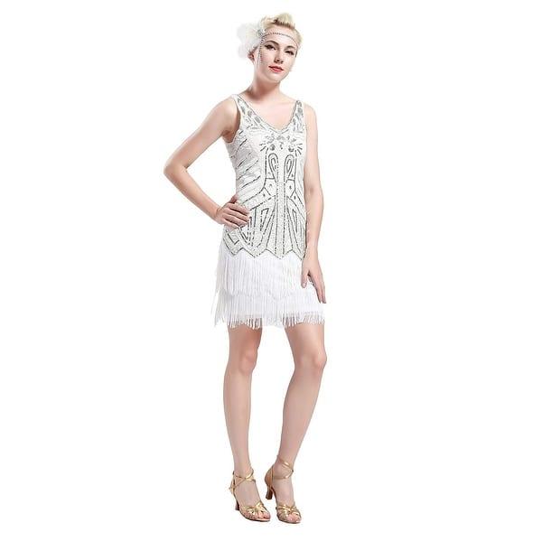 Yond Women S Fler Dresses 1920s V Neck Beaded