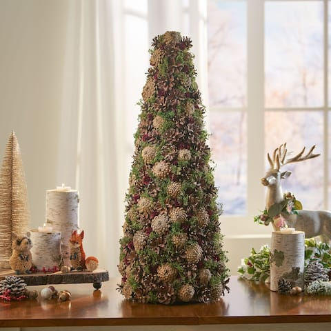 Rutherford Pre-Decorated Pine Cone Artificial Tabletop Christmas Tree by Christopher Knight Home