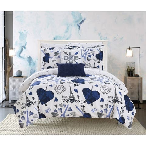 """Chic Home Marais 9 Piece Reversible """"Paris Is Love"""" Comforter Set"""