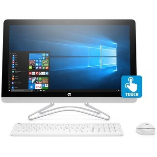"HP 24-E012 AMD A9-9400 1TB HDD, 23.8"" Full HD Touch-Screen, All-in-One PC - White"