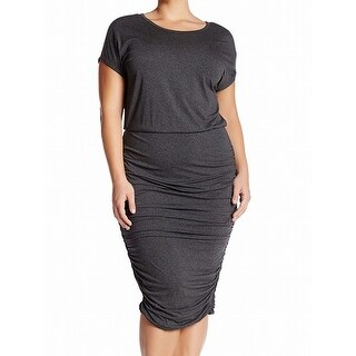 Vince Camuto Charcoal Gray Womens Size 1X Plus Ruched Sheath Dress