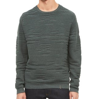 Calvin Klein Green Mens Size Medium M Crewneck Textured Sweater