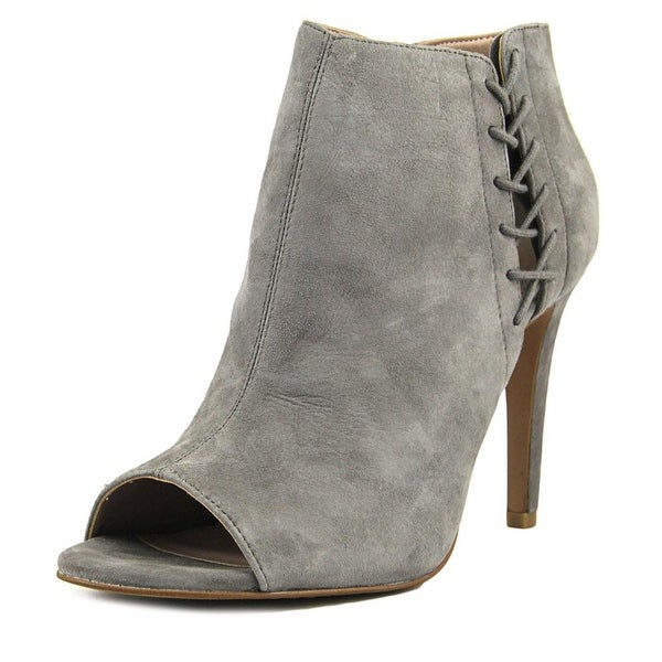 French Connection Quincy Women Peep-Toe Suede Gray Bootie