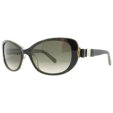Kate Spade Chandra/S X54 Y6 Havana Brown Gold Women's Oval/Cat Eye Sunglasses - Havana Brown - 53mm-17mm-135mm