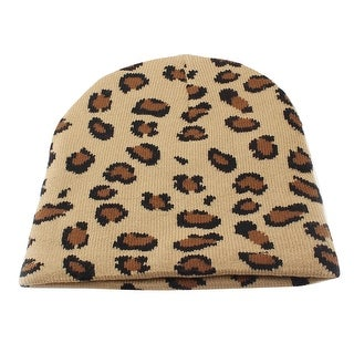 Unique Bargains 19cm Depth Elastic Warmer Knitted Ribbed Beanie Hat Brown for Women