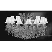 Crystal Chandelier Pendant With White shades 14 Lights Silver