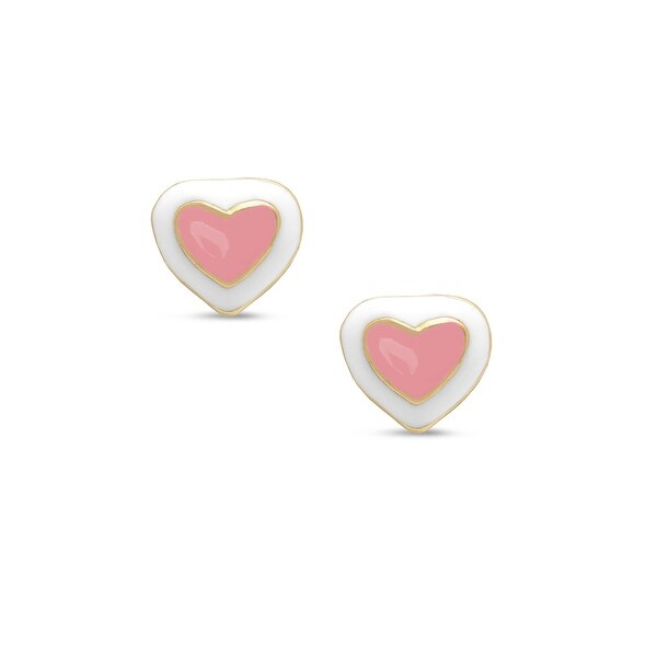 Lily Nily Girl's Heart Stud Earrings - Pink