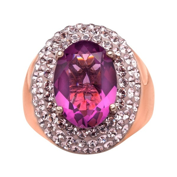 Crystaluxe Cocktail Ring with Violet Swarovski Crystals in 14K Rose Gold-Plated Sterling Silver