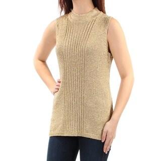 CALVIN KLEIN Womens New 1132 Gold Glitter Turtle Neck Sleeveless Sweater M B+B