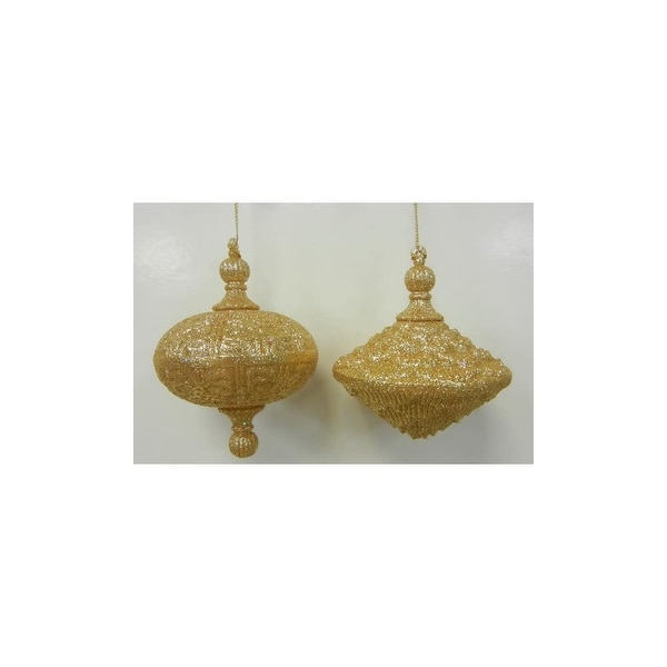Christmas at Winterland WL-OVDROP-2PK-GO 2 Oval Drop Ornaments Gold - N/A