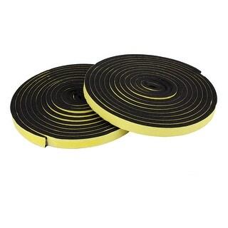 2pcs 5 Meters Black Foam Sealed Noiseproof Soundproof Sticker Strip for Auto Car