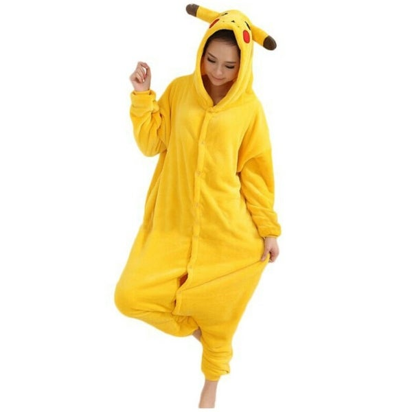 73d7836734e9 Unisex Adult One Piece Pajamas Cosplay Sleepwear Pokemon Pikachu Costume  X-Large