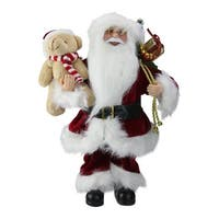"12"" Traditional Standing Santa Claus Christmas Figure with Teddy Bear and Gift Bag - WHITE"