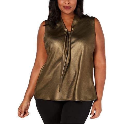 Kasper Womens Metallic Tie-Neck Sleeveless Blouse Top, metallic, 2X