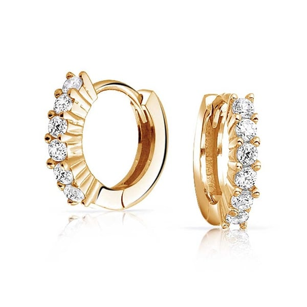 ea75b4e04 Shop 5 Solitaire Prong Set CZ Small Kpop Huggie Hoop Earrings For Women Men  Cubic Zirconia 14K Gold Plate 925 Sterling Silver - On Sale - Free Shipping  On ...