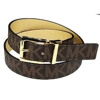 Michael Kors Womens Reversible MK Logo Gold Buckle Brown/Gold Belt, 553751C
