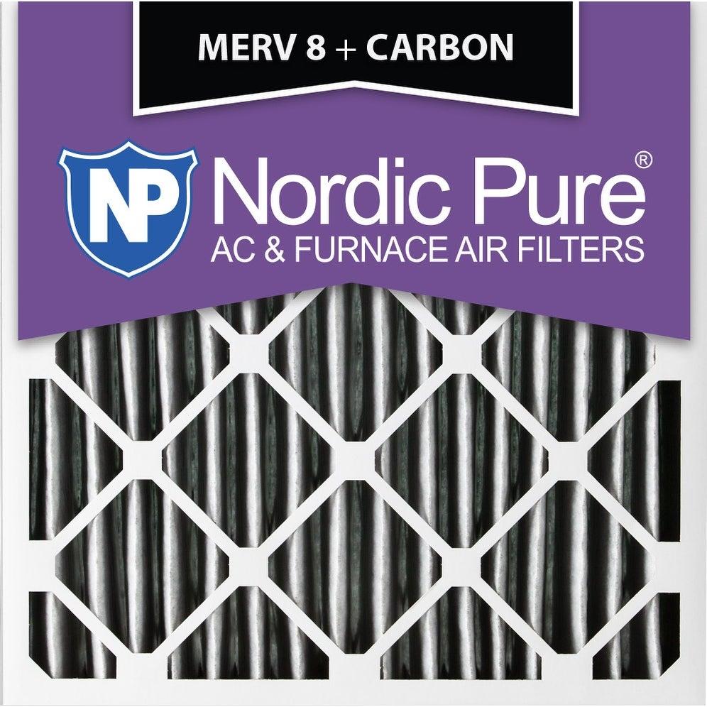 2 Pack Nordic Pure10x10x1MERV 10 Pleated Plus CarbonAC Furnace Air Filters