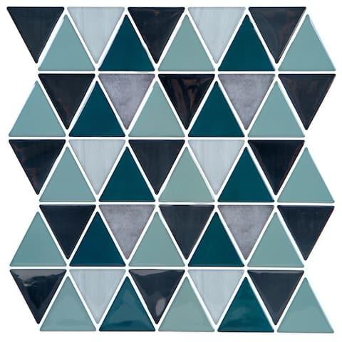 Simplify Peel & Stick Wall Tile 4 Pack in Geo Blue/Grey