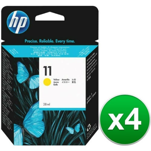 HP 11 Yellow Original Ink Cartridge (C4838A) (4-Pack)