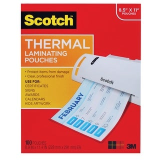 Scotch Laminating Pouch, 8-9/10 x 11-2/5 Inches, Clear, 3 mil Thick, Pack of 100