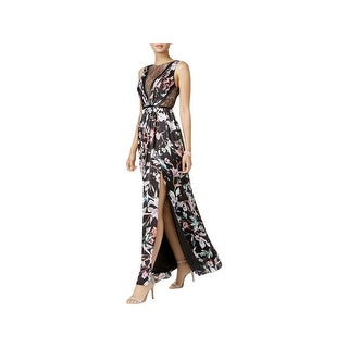 Adrianna Papell Womens Special Occasion Dress Floral Print Pleated