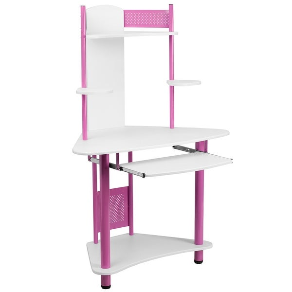 Malcom Pink Corner Home/Office Computer Desk w/Hutch