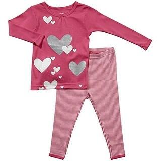 Carter's Little Girls' Pink Heart Stripe Cotton Pajama Set -3T